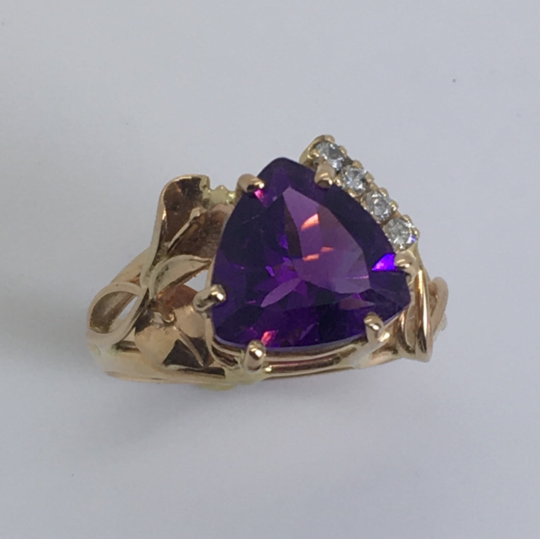 Amethyst Trillion Calla Lily Ring
