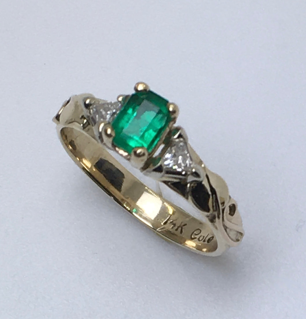 Emerald Cut Emerald with Trillaint Diamonds Ring