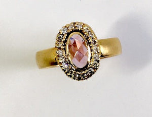 Rose Cut Natural Pink Sapphire Ring with Diamonds