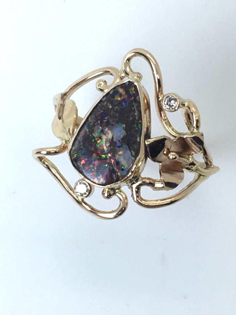 Boulder Opal Ring with 2 Diamonds