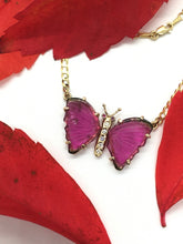 Load image into Gallery viewer, Watermelon Tourmaline Butterfly Necklace