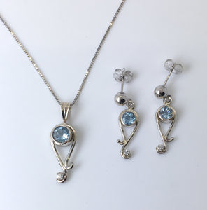 Aquamarine Paisely Pendant and Earring Set