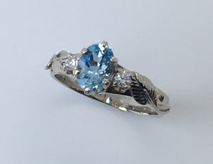 Aquamarine, Diamonds & Leaves Ring