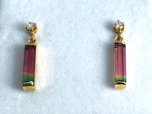 Bicolor Tourmaline  and Diamond Pendant and Earring Set