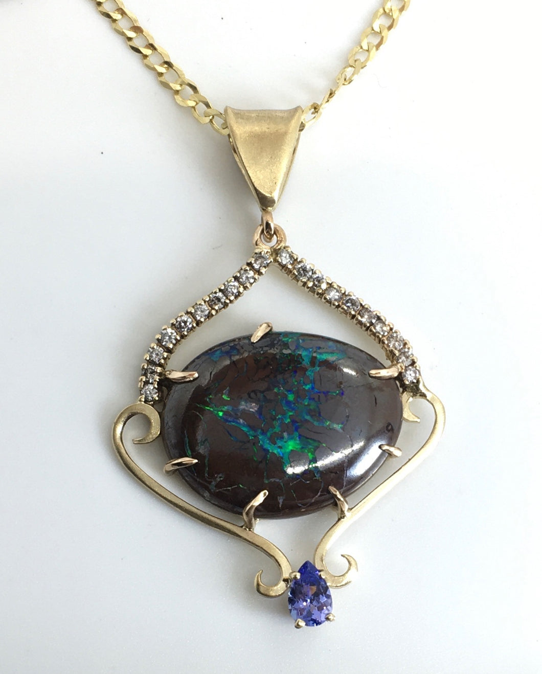 Boulder Opal, Tanzanite and Diamonds Pendant