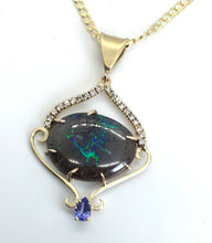 Load image into Gallery viewer, Boulder Opal, Tanzanite and Diamonds Pendant