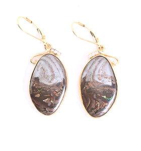 Yaweh Nut Boulder Opal and Diamonds Drop Earrings