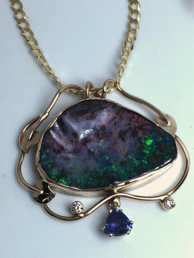 Boulder Opal and Tanzanite Necklace in Autumn Colors