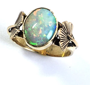 Australian Opal and Ginkgo Leaf Ring