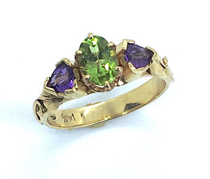 Peridot and Amethyst Ring in 14K Gold