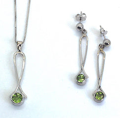 Peridot Exclamation Point Set, White Gold