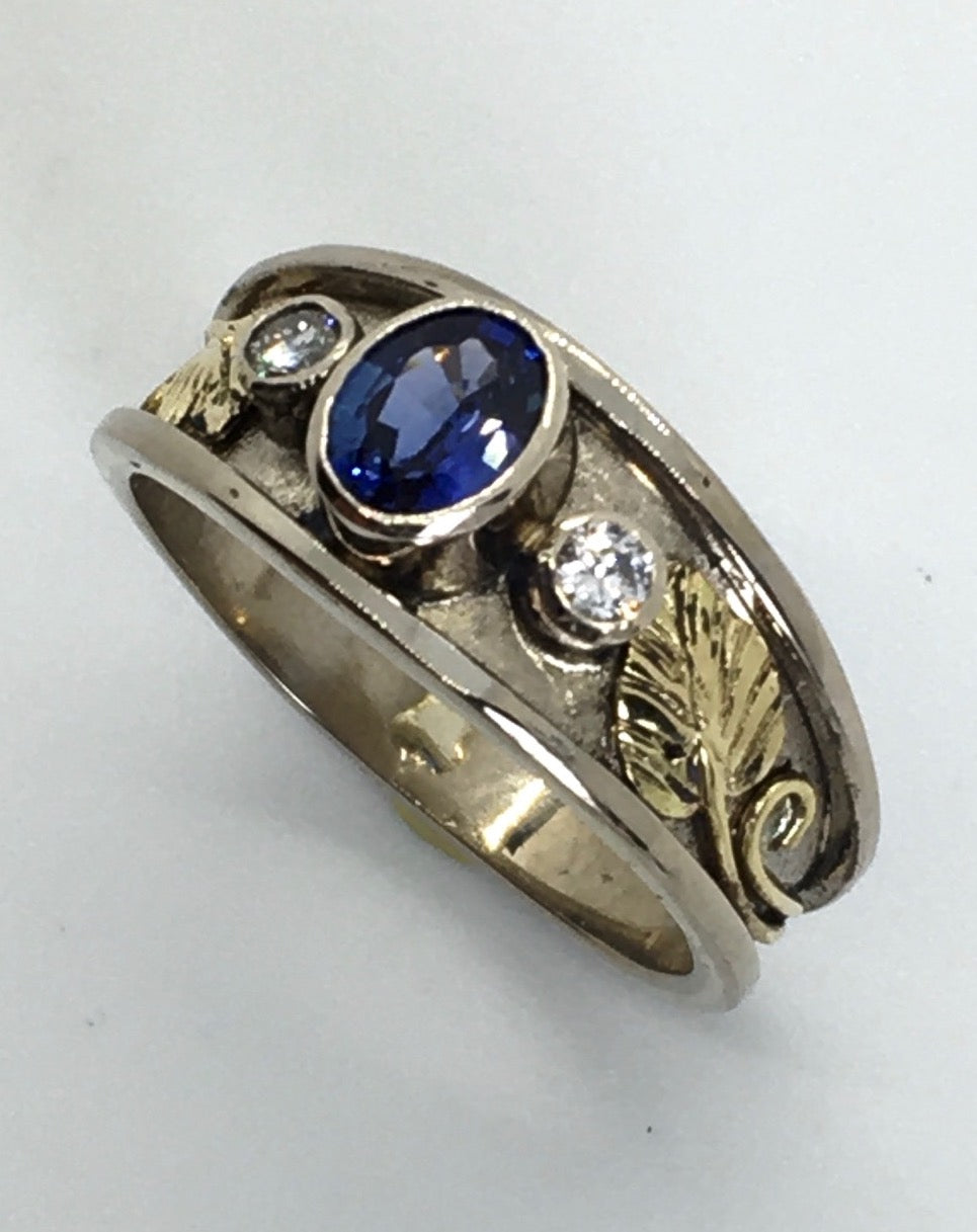 Ceylon Sapphire and Diamond Recessed Wide Band Ring, Mixed Golds
