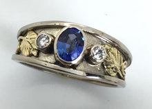 Load image into Gallery viewer, Ceylon Sapphire and Diamond Recessed Wide Band Ring, Mixed Golds