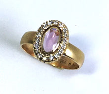 Load image into Gallery viewer, Rose Cut Natural Pink Sapphire Ring with Diamonds