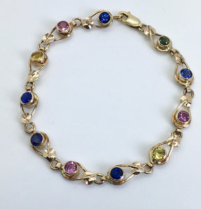 Mulitcolored Sapphire Bracele with Leaves & Vines
