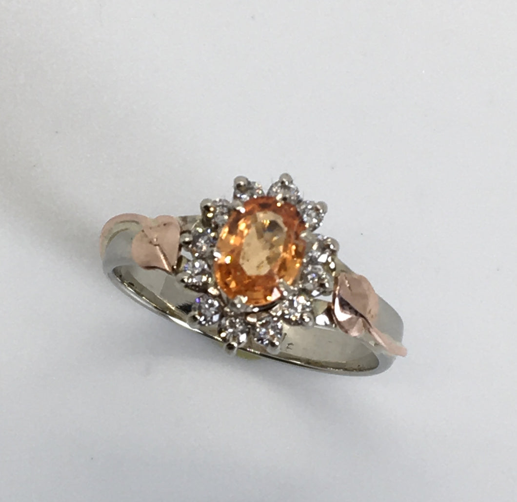 Spessartite Garnet and Diamonds Mixed Gold Ring