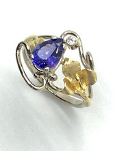 Load image into Gallery viewer, Tanzanite and Diamond Ring with 2 Colors of Gold
