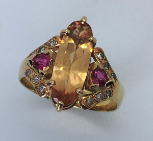 Imperial Topaz and Pink Sapphire Ring