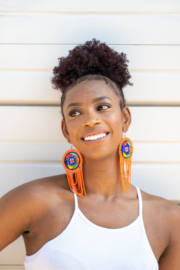Orange Zulu Girl Earrings