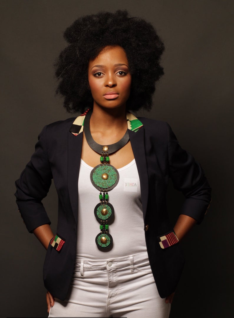 The Mpumi 3 ring statement necklace- Silver hardware