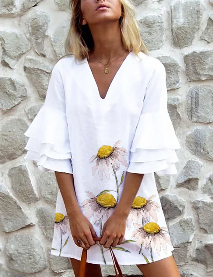 White Casual Frill Sleeve Dresses