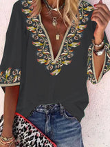 Floral  Half Sleeve  Printed  Polyester  V neck Vintage  Summer  Black Shirt