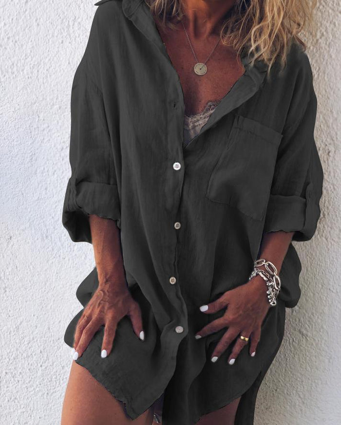 Plus Size Casual V Neck Long Sleeve Solid Dresses