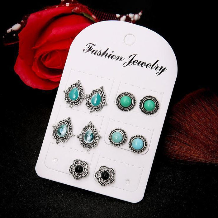 Vintage Alloy Turquoise Earrings