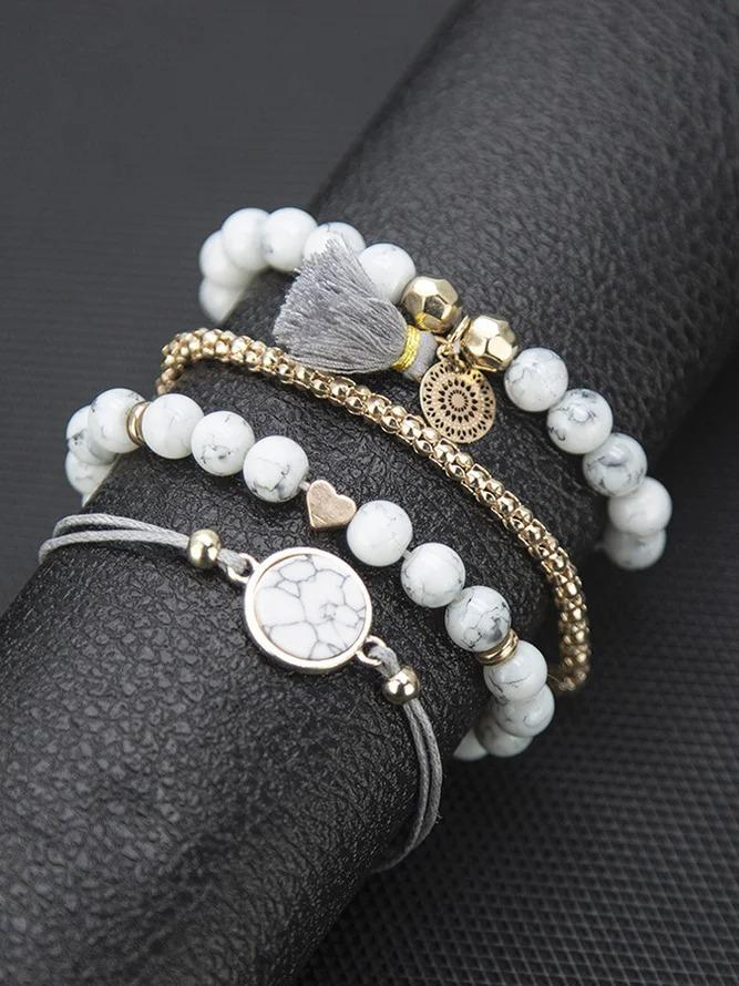 White Alloy Casual Bracelets