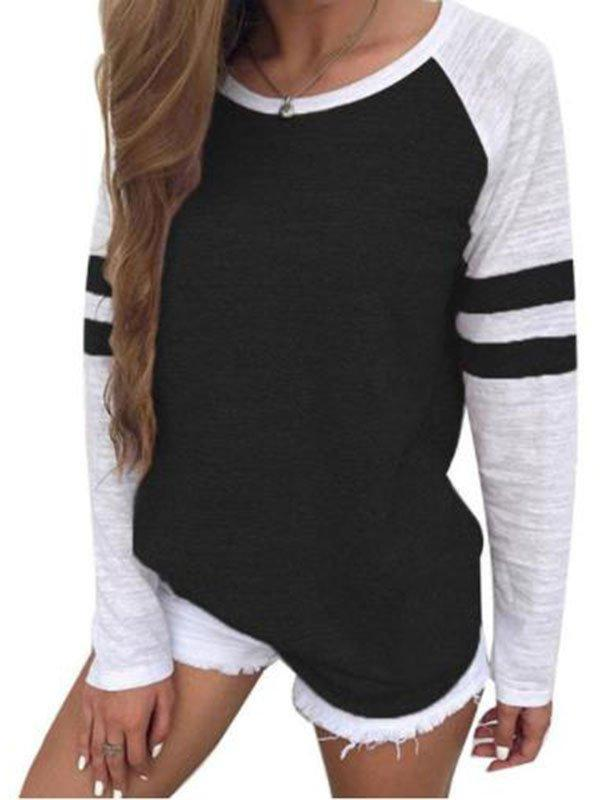 Tri-color striped long-sleeved T-shirt round collar shirt