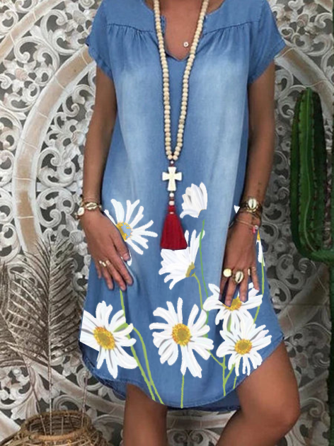 Blue Short Sleeve Floral Shift Denim Dresses