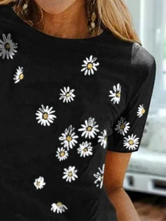 Holiday Short Sleeve Floral Crew Neck Dresses