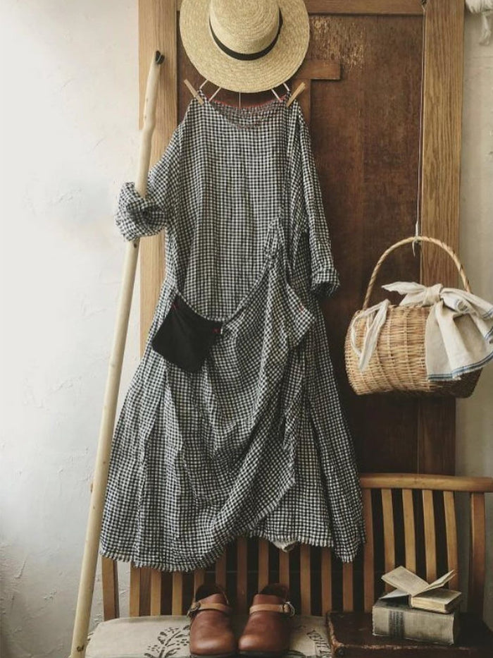 Vintage Plaid Long Sleeve Plus Size Casual Dresses