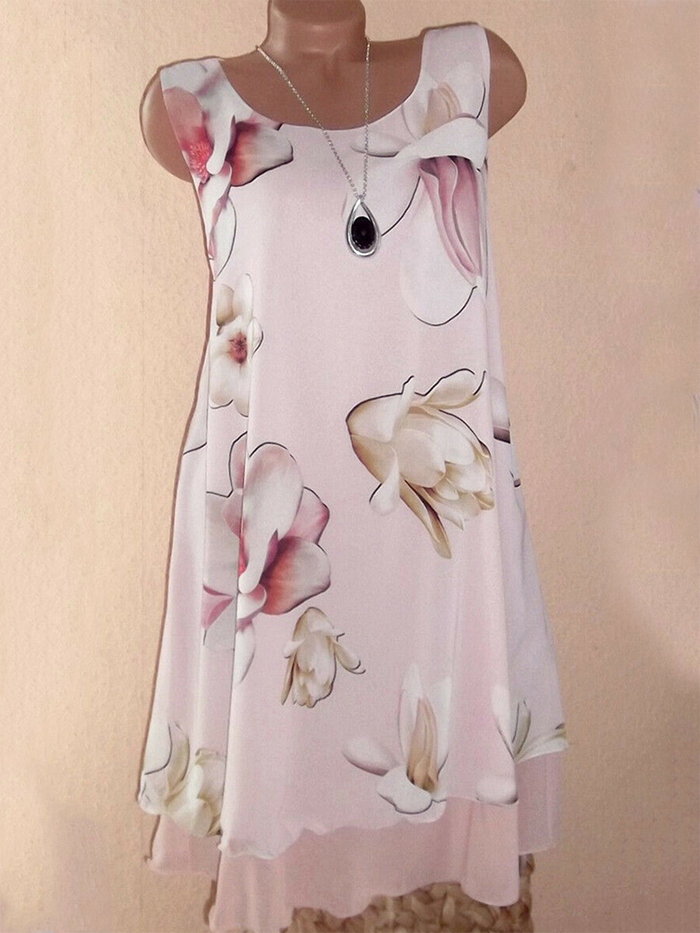 Floral-Print Crew Neck Cotton-Blend Sleeveless Dresses