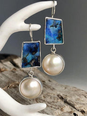 Blue Ocean Pearl Earrings