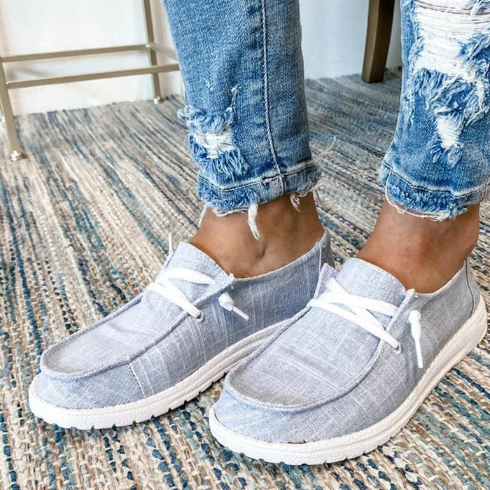 Women Casual Comfy Canvas Flat Low Top Slip on Loafers