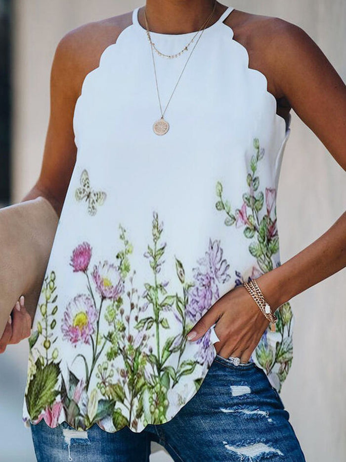 Vintage Floral Printed Plus Size Sleeveless Casual Tops