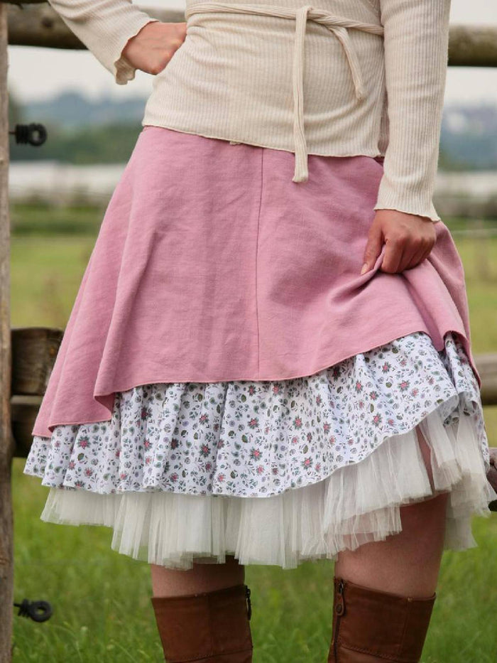 Pink A-Line Cotton-Blend Printed Casual Skirts
