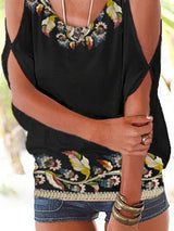 Floral-print Cotton-Blend Casual Off Shoulder Shirts & Tops