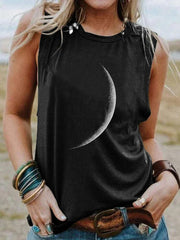 Black Moon Printed Shift Crew Neck Party Daily Casual Sleeveless Vests
