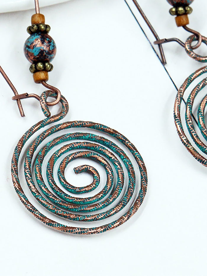 Womens Vintage Round Alloy Hollow Earrings