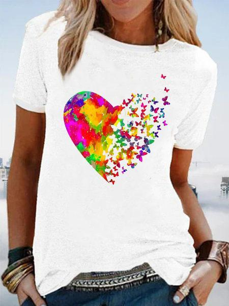Short Sleeve Graphic Cotton-Blend Casual  Tops