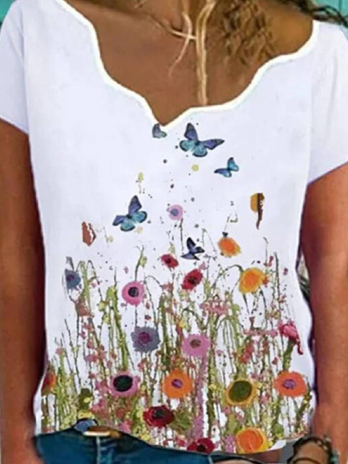 Floral Floral-Print Casual Short Sleeve Shirts & Tops