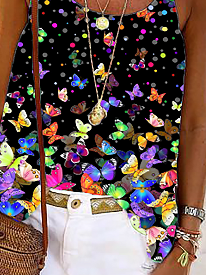 Plus size Butterfly Sleeveless Shirts & Tops