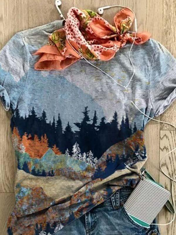 Printed Cotton-Blend Casual Crew Neck Shirts & Tops