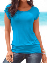 Vintage Plain Plus Size Short Sleeve Crew Neck Casual Tops