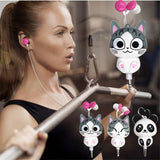 Cat  & Panda 3.5 mm Wired Retractable In-Ear Headset