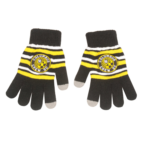 Columbus Crew SC Acrylic Stripe Knit Gloves - Columbus Soccer Shop