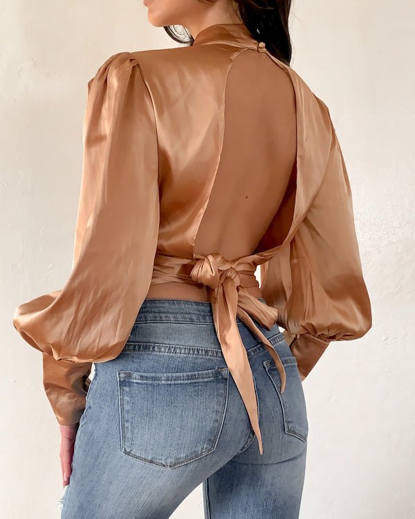 KELLY OPEN BACK SATIN TOP