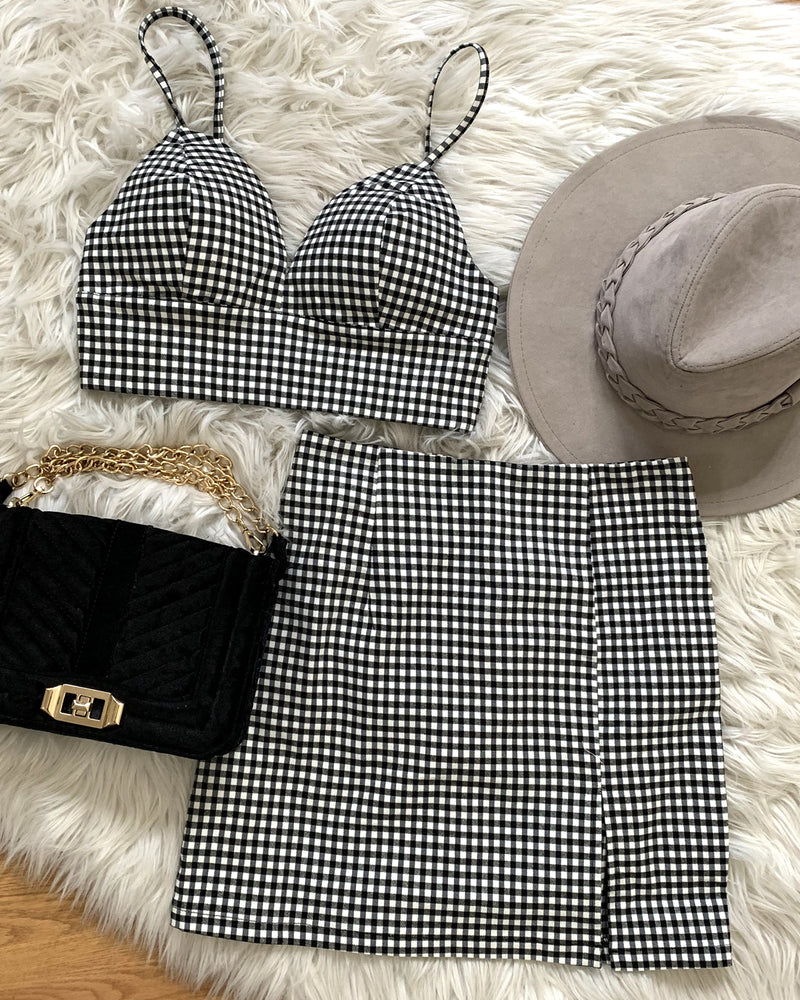 Lucky Star Gingham Mini Skirt